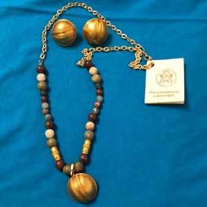 Columbian necklace and earring set